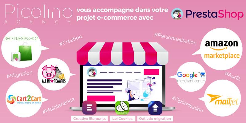 web agency expert en conception- développement-migration-audit-optimisation de site e-commerce avec Prestashop